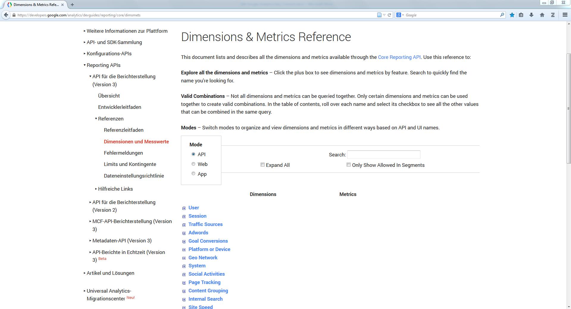 QlikView Google Analytics Easy Connect Dimensionen und Metriken