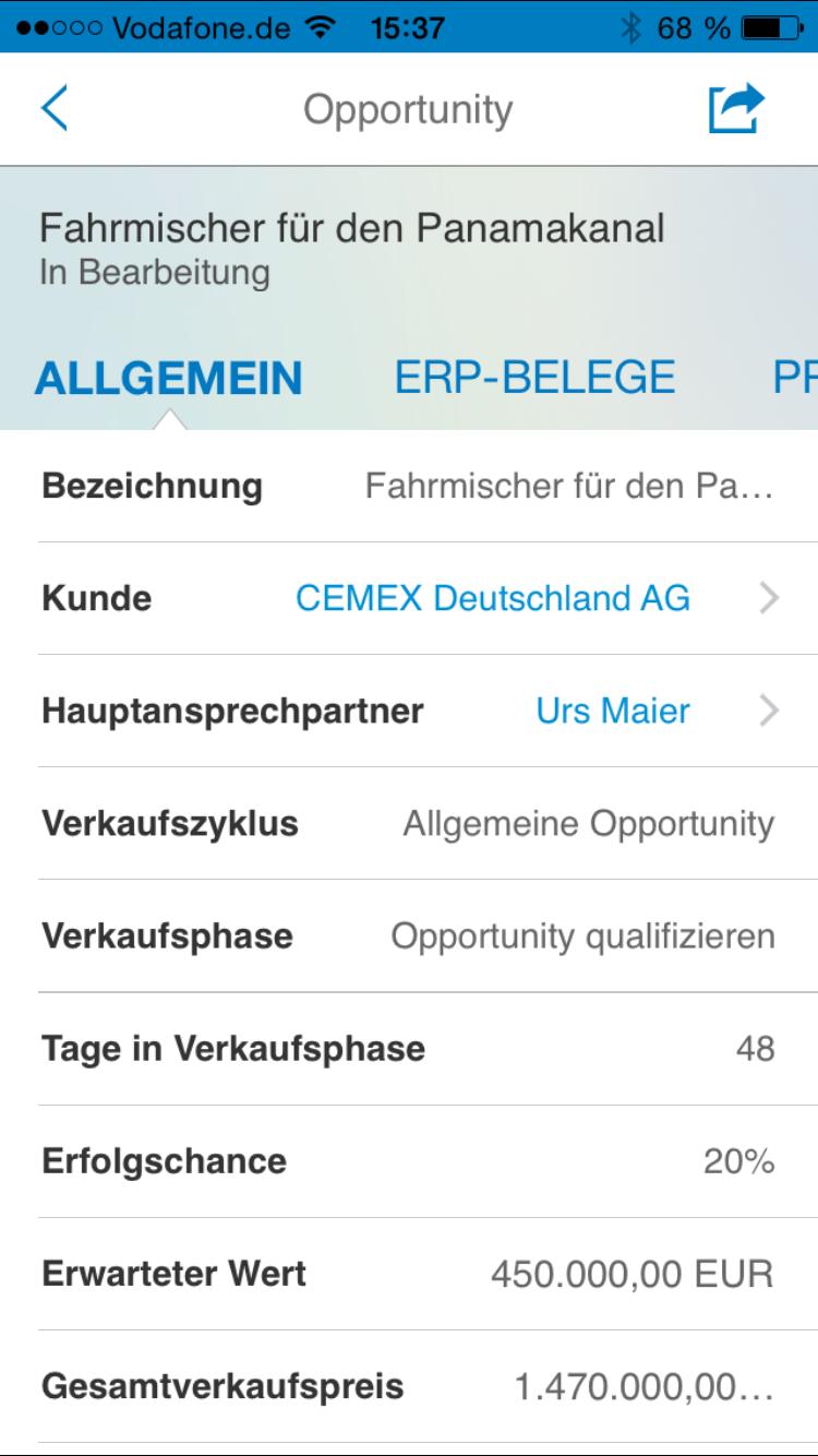 SAP Cloud for Sales - MobileApp 6