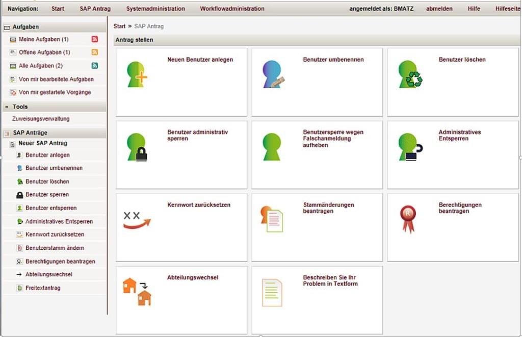 SAP Berechtigungsmanagement Benutzerrofil auswählen