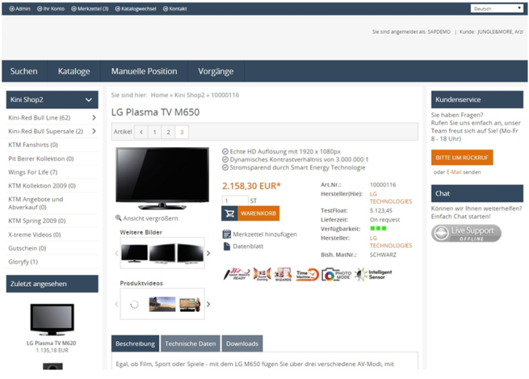 eProcure SAP ERP Katalogsuche Artikeldetail