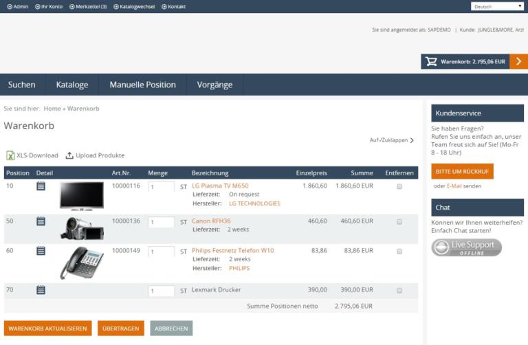eProcure SAP ERP Warenkorb