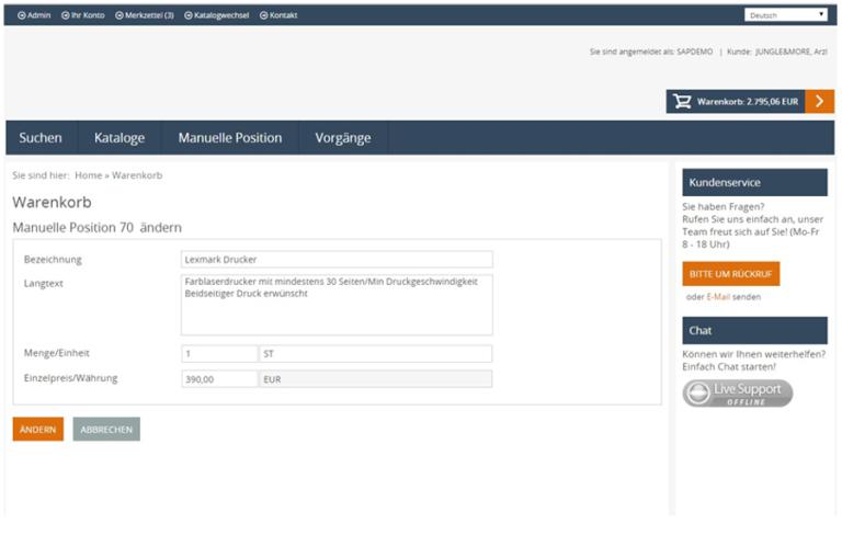 eProcure SAP ERP Warenkorb Detaildaten