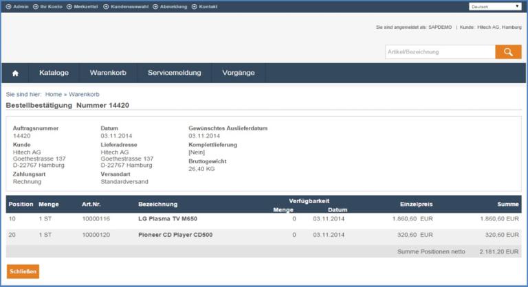 eSelling SAP ERP Bestellbestaetigung