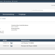 eSelling SAP ERP Meine Vorgaenge Bestelldetail