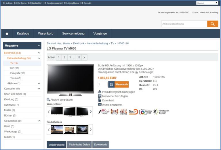 eSelling SAP ERP Produktdetail