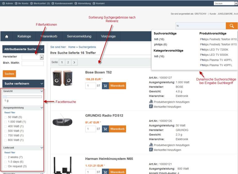 eSelling SAP ERP Produktsuche
