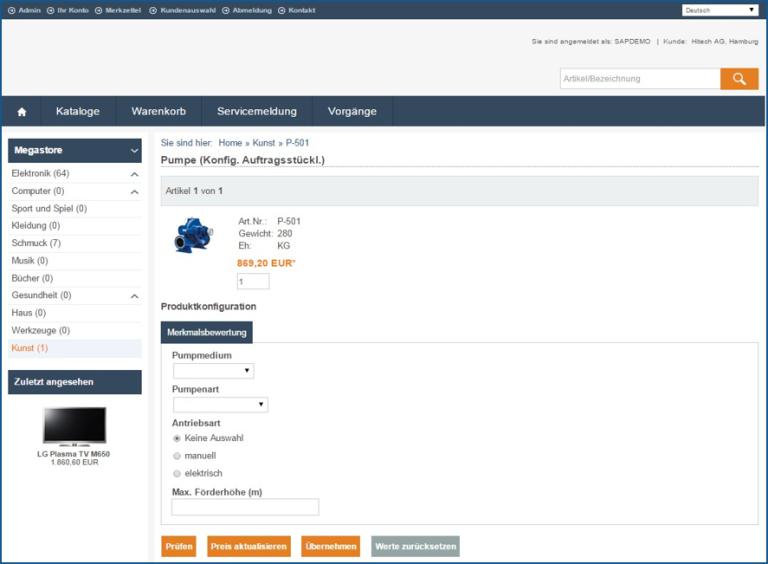 eSelling SAP ERP Produktkonfiguration