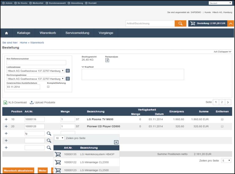 eSelling SAP ERP Warenkorb