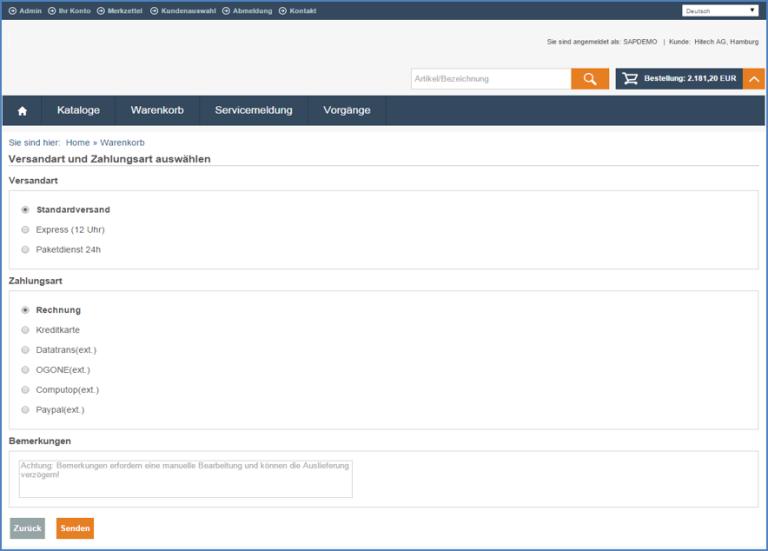 eSelling SAP ERP Versand und Zahlung