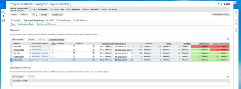 SAP Business ByDesign Ressourcenauslastung