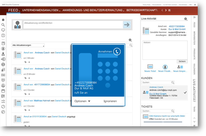 SAP Cloud for Service Telefonie
