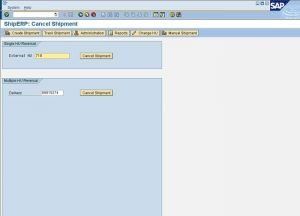 SAP Multi Carrier Transportmanagement mit ShipERP - Cancel Shipment