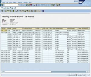 SAP Multi Carrier Transportmanagement mit ShipERP - Tracking Number Report