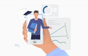 Hand holding smartphone with tutor on screen